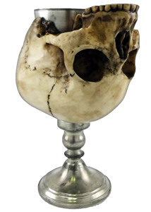 Resin and pewter skull cup